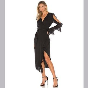 NWT Bardot Revolve Midnight Dress Black Long Midi